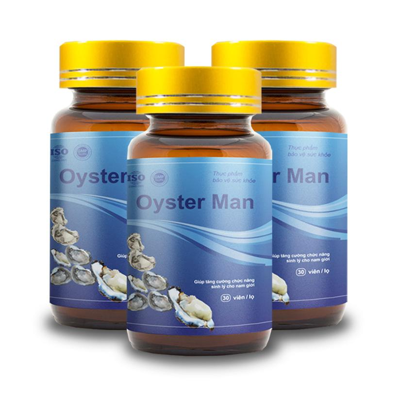 Combo 3 Tinh Hàu Biển Oyster Man - Tăng Cường Sinh Lý Nam Giới, Tăng Ham Muốn, Cường Dương (Hộp 30 viên) chính hãng