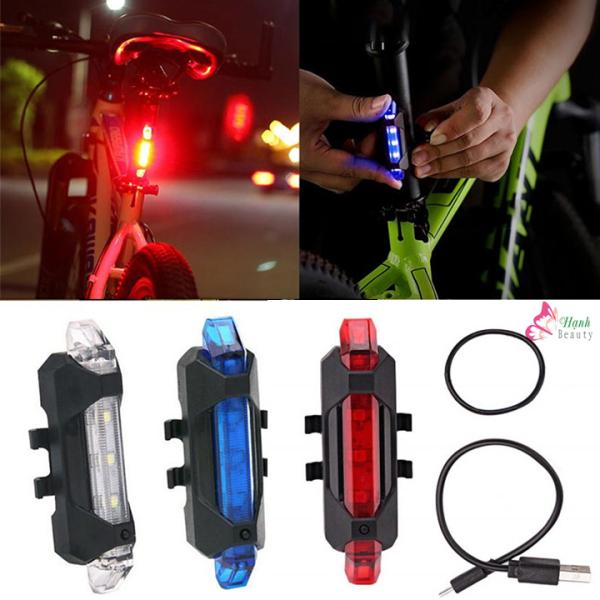 Đèn hậu xe đạp cảnh báo gắn phía sau gồm 5 đèn led với 4 chế độ nháy, tặng kèm cap sạc usb, chống nước tốt giúp đạp xe an toàn ban đêm phù hợp xe đạp thể thao