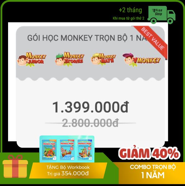 Giá Combo 4 phần mềm giáo dục cho trẻ 1 NĂM - Monkey Junior, Stories, Math, Vmonkey