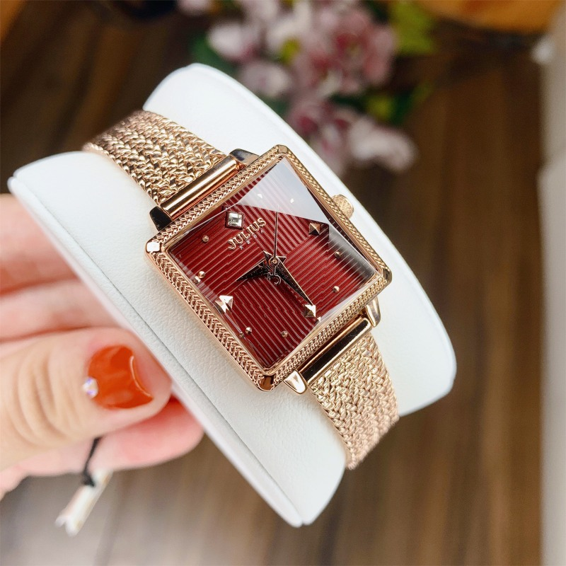 Đồng hồ nữ Hàn Quốc Julius JA-1220 dây thép mặt vuông( nhiều màu )
