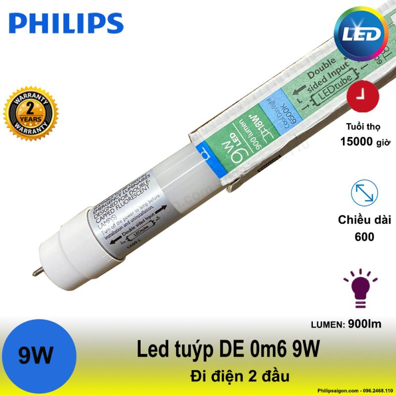 (Bộ 5) bóng Led tuýp Philips DE 0m6 9W - điện đi 2 đầu, sử dụng dòng điện trực tiếp, tiết kiệm điện đến 55% - bảo hành 24 tháng