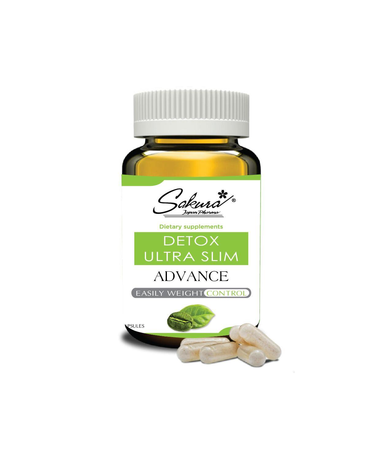 Giảm cân hiệu quả bằng thảo dược thiên nhiên, Sakura Detox Ultra Slim ( tăng 1 hộp giải độc gan  detox life ) nhập khẩu