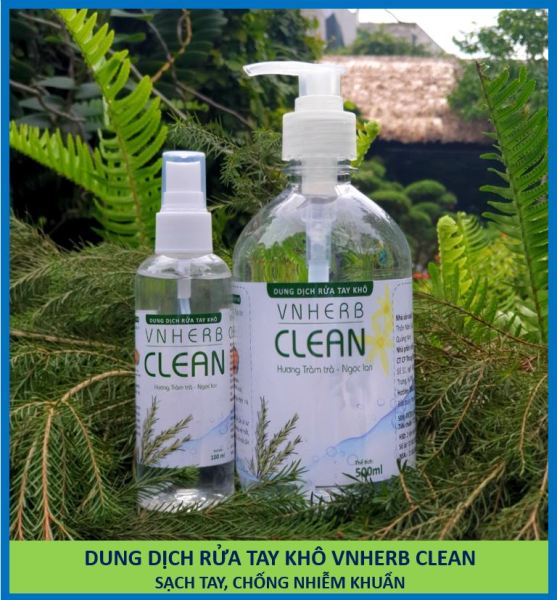 Dung dịch nước xịt rửa tay khô sạch tay khử trùng tránh lây nhiễm bệnh Virus - VNHerb Clean chai 100ml-500ml [TBYT H-Care (Hà nội)]