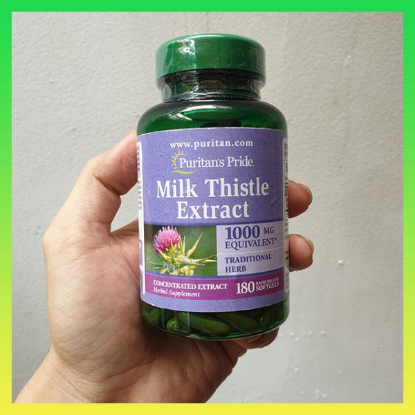 Viên uống bổ gan Puritans Pride Milk Thistle Extract 1000mg 180 viên - Hàng Xách Tay