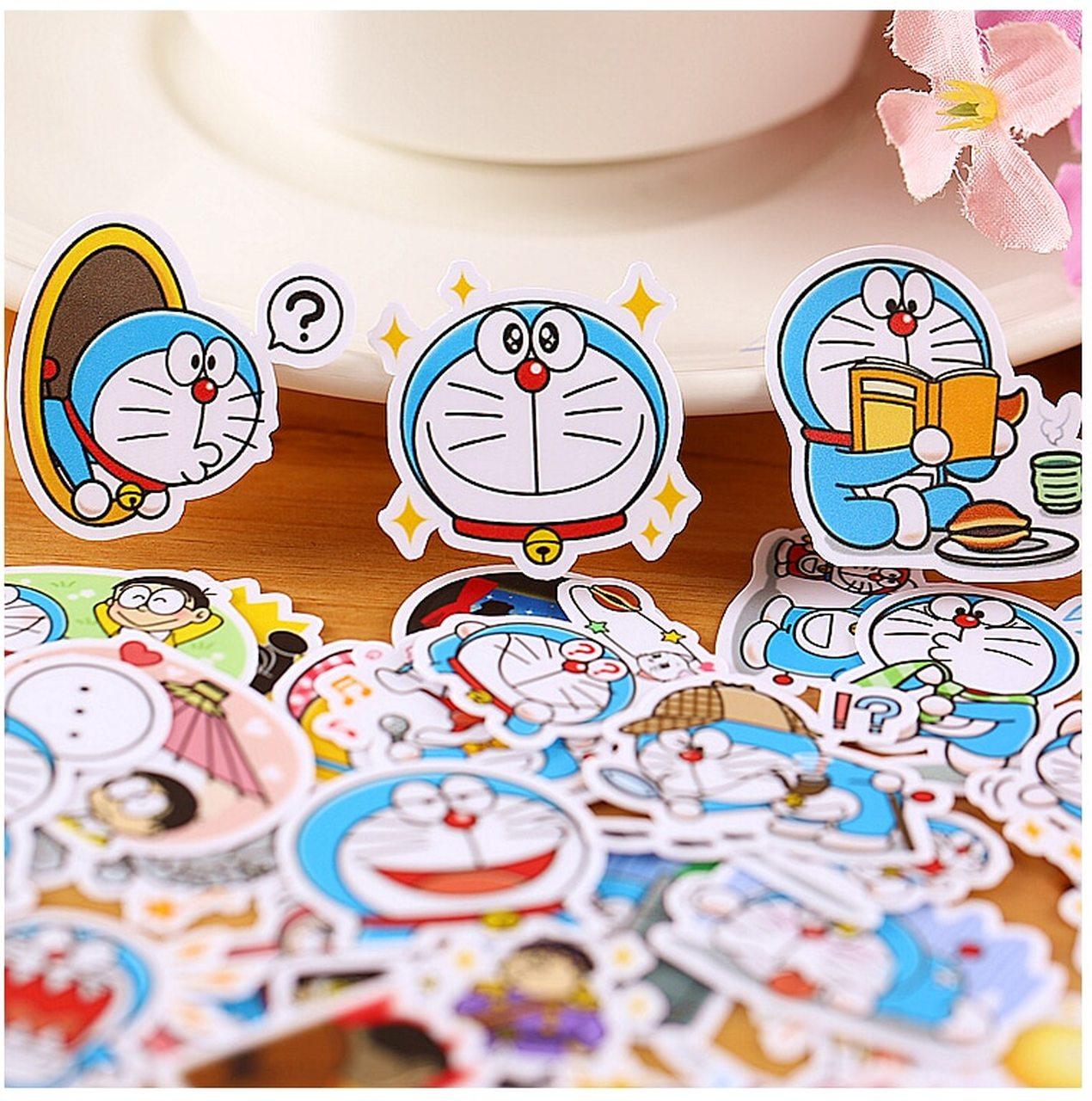 Giá Cực Tốt Khi Mua 120 Mẫu Sticker Hình Dán Decal Chống Nước Chủ đề Mèo Máy Đô Rê Mon Doraemon