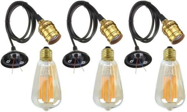 Bộ 3 Dây Đèn Thả Cổ Điển Vintage Edison 4W 220V Gold