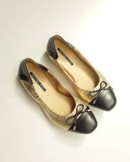 Giày Búp Bê Da Thật Mũi Vuông Mix Màu AD by Sullily màu vàng mang êm chân
