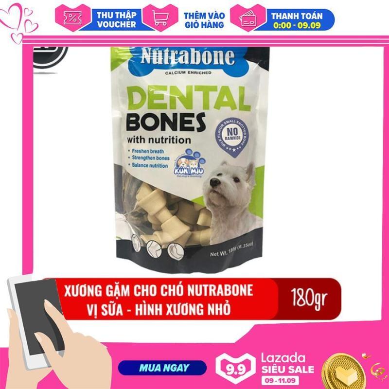 Xương cho chó vị sữa Nutrabone 180gr hình xương nhỏ - Xương gặm sạch răng cho chó