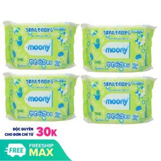 Bộ 8 gói giấy ướt Moony 80 miếng (Xanh) thumbnail