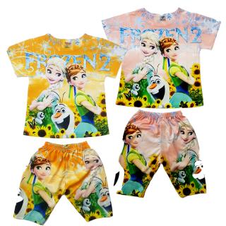 Đồ bộ 3D Elsa bé gái tay ngắn in 2 mặt áo và quần chất cotton mềm mịn mát size từ 7 đến 24kg màu ngẫu nhiên - Hàng đặt thời trang trẻ em thumbnail