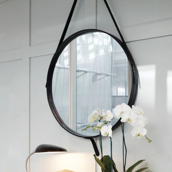 Gương treo tường D50 - Gương trang điểm treo tường dây da simili đường kính 50cm, gương tròn, gương trang điểm phong cách hiện đại
