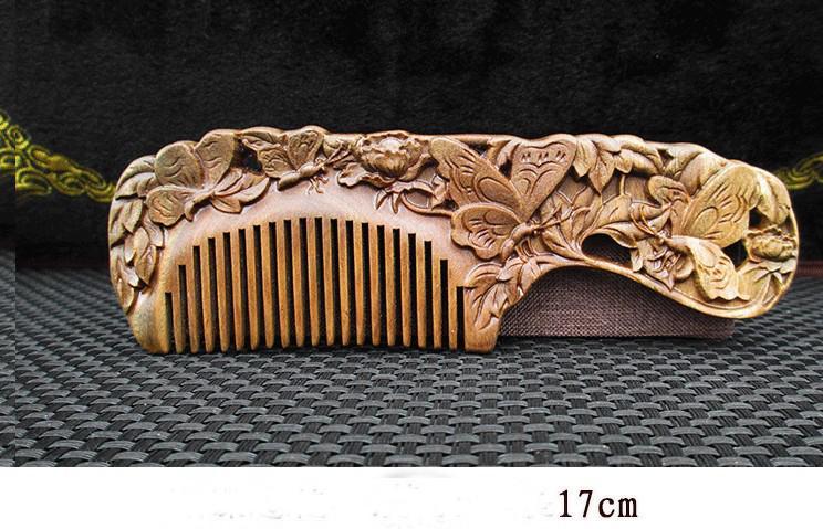 Lược gỗ đàn hương xanh, trạm khắc 2 mặt 17cm (món quà ý nghĩa với người thân) HC17 nhập khẩu