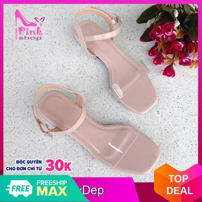 (Có mã miễn ship) Giày nữ, giày sandal PinkShopGiay gót trong kiểu dáng độc đáo phối quai trong màu hồng nhạt trẻ trung xinh xắn giá rẻ