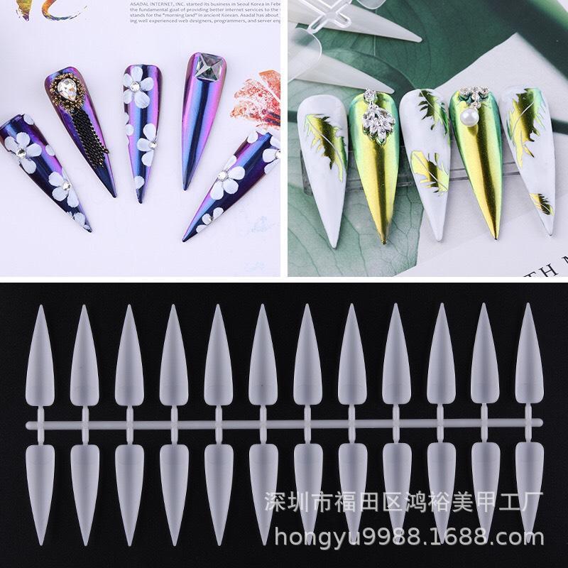 240 Móng tay giả trang trí móng nail (loại dài - đầu nhọn) chuyên dụng design cho nail salon (240 móng/gói)