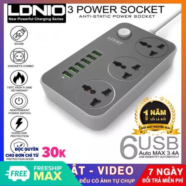 (BẢO HÀNH 1 NĂM)Ổ cắm điện đa năng, hỗ trợ sạc nhanh LDNIO - SC 3604 với 6 cổng sạc USB hỗ trợ sạc nhanh 2.0 và 3 ổ cắm thường giá rẻ