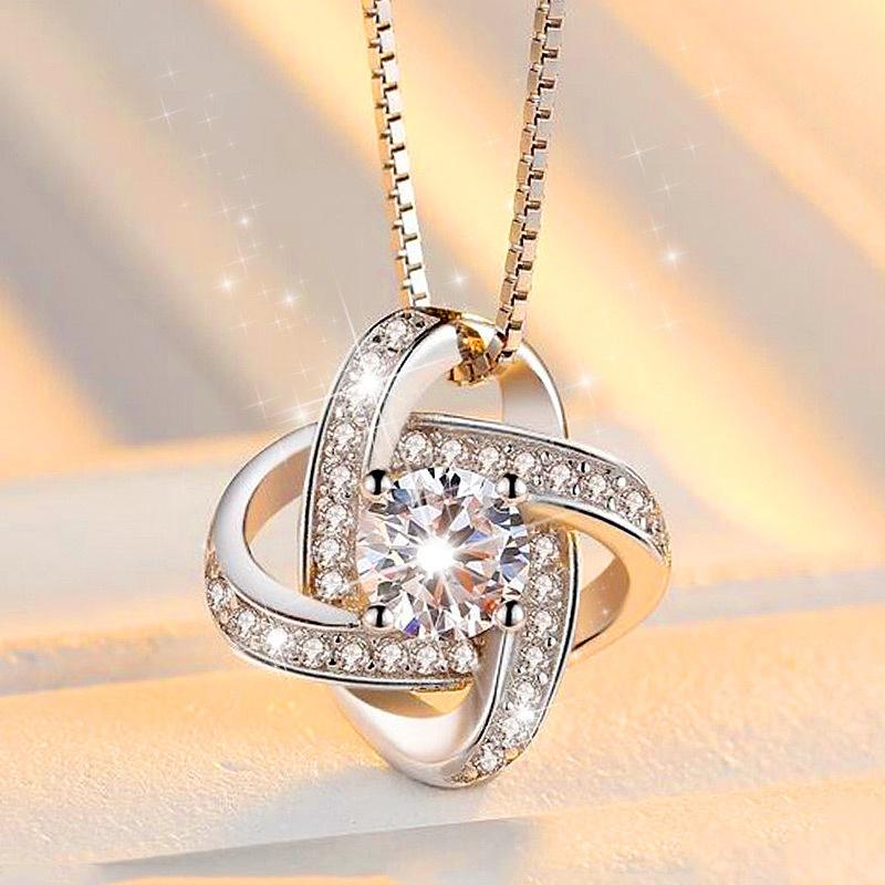 Dây chuyền nữ Hoa mặt trời bạc 925 nạm đá zircon tinh tế dây chuyền bạc Ý bạc trang sức vòng cổ nữ GM-DC3
