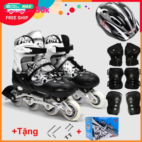 Mua Bộ Giày Patin Longfeng 3 in 1 , giày trượt patin đầy đủ bảo hộ chân tay và mũ chính hãng tặng kèm hộp vàn bộ ốc vít màu Xanh
