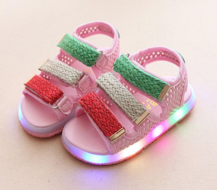 Sandal Trẻ Em Quai Ngang 3 Màu Có đèn Nháy (Hồng, Đen, Trắng) Giá Rẻ Bất Ngờ