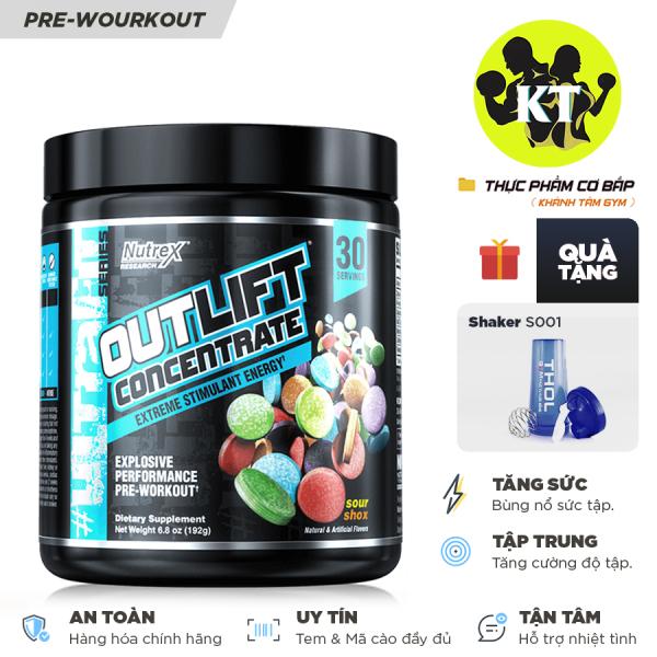 Pre-workout Tăng sức mạnh Outlift Concentrate của Nutrex RESEARCH  - Hương Sour Shox - 30 liều dùng nhập khẩu