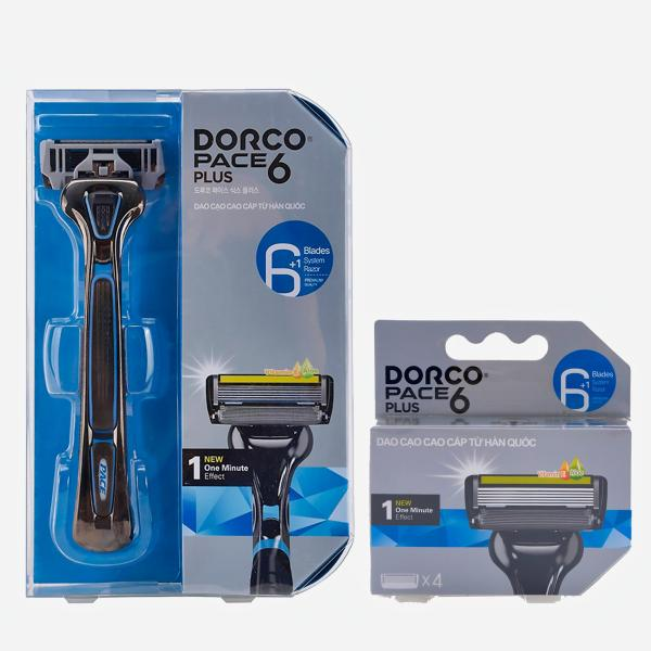 Combo dao cạo và vỉ 04 Đầu Cạo Râu 6 Lưỡi Dorco Pace 6 Plus SXA 5040-4B (6 Lưỡi + Đầu Cắt Tóc Mai)
