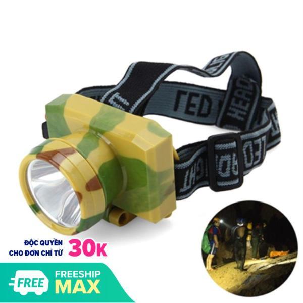 Đèn pin thợ mỏ đeo đầu siêu sáng VegaVN (Rằn ri) -Đèn pin đội đầu siêu sáng - Đèn Pin Led Siêu Sáng Đội Đầu 1 Bóng