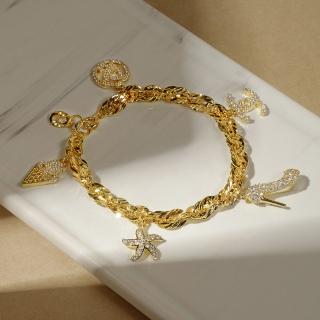 [Khuyến mãi lớn - Hàng mới về] Vòng charm bạc Ý mạ vàng thật 18K kiểu dáng Hàn Quốc đính đá Zircon sang trọng, vòng tay nữ, lắc tay bạc,vong tay nu, trang sức bạ cao cấp, vòng tay Hàn Quốc thumbnail