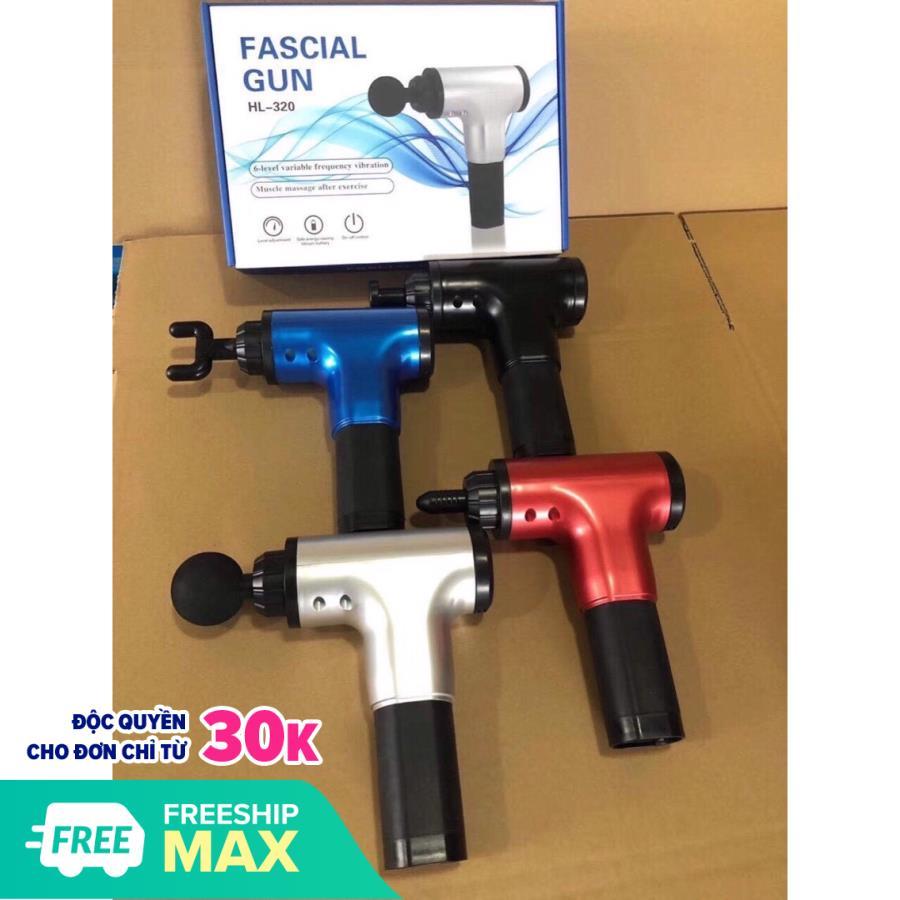 Máy massage cơ bắp 4 đầu 6 chế độ giãn cơđa năng cầm tay Fascial Gun Phoneix thế hệ mới là thiết bị chuyên nghiệp sử dụng để làm giãn cơ dành cho dân thể thao,người già,gymer,máy massage bụng,cổ,lưng - Máy massage cầm tay