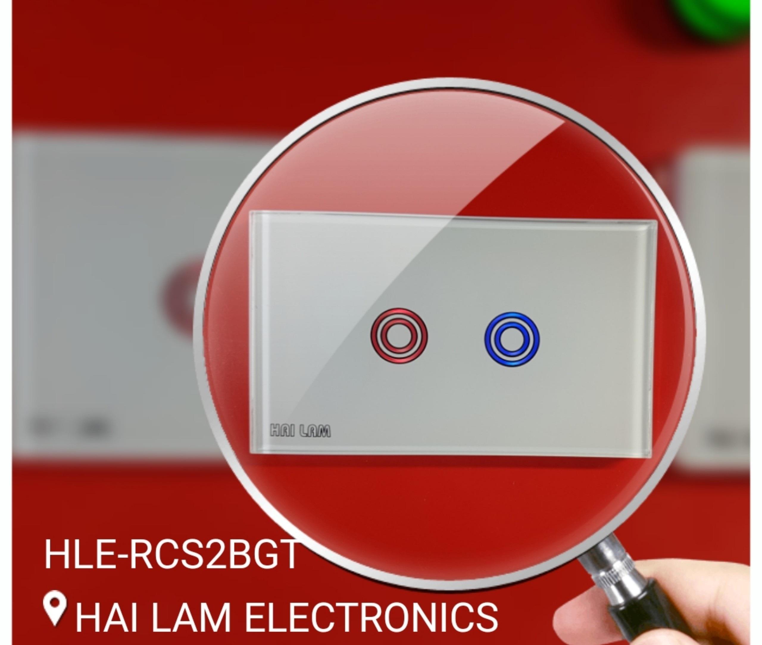 Công tắc cảm ứng âm tường điều khiển từ xa bằng tay điều khiển. Công Tắc Điện Thông Minh 2 Nút - HLE-RCS2BGT