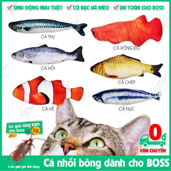 Cá giả nhồi bông đồ chơi cho mèo, đồ chơi chó thú cưng, đồ chơi cho chó hương bạc hà mèo chiều dài khoảng 20cm