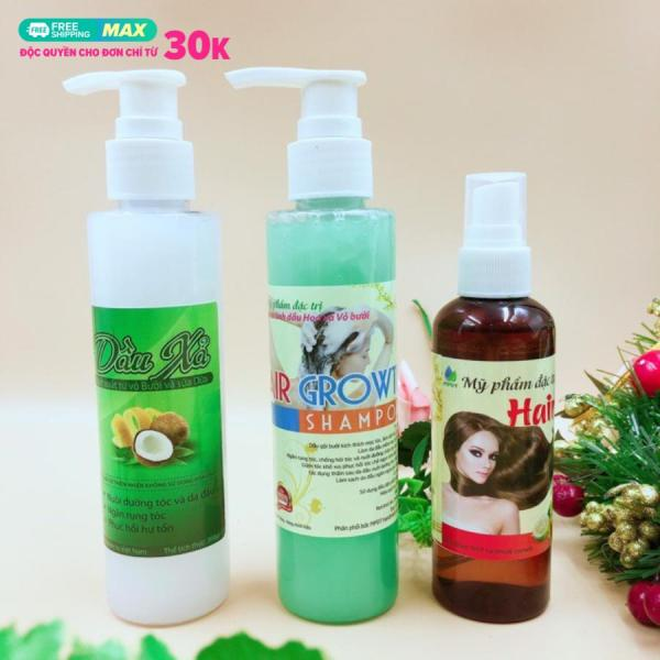 Bộ 3( tinh dầu bưởi+dầu gội bưởi+dầu xả bưởi) giảm rụng tóc, hói đầu,mọc tóc,phục hồi tóc yếu khô xơ nhập khẩu
