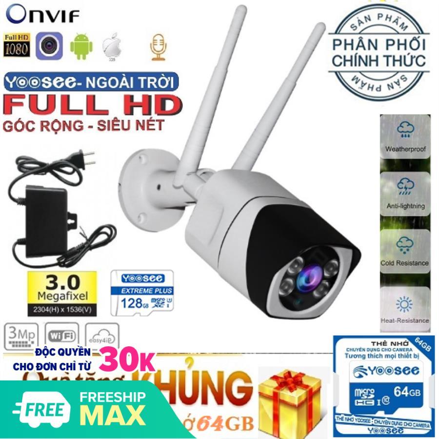 [KÈM THẺ CHUYÊN DỤNG LÊN TỚI 64GB,TRỊ GIÁ 399K] Camera Wifi trong nhà - ngoài trời YOOSEE S10, 3.0 Mpx - 1920 x 1080P,camera WIFI KHÔNG DÂY Full HD XEM ĐÊM CÓ MÀU, chống nước tuyệt đối