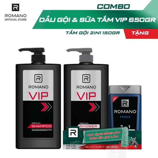 Combo Dầu gội 650gr và Sữa tắm cao cấp Romano Vip 650gr - Tặng kèm tắm gội 150g giá rẻ