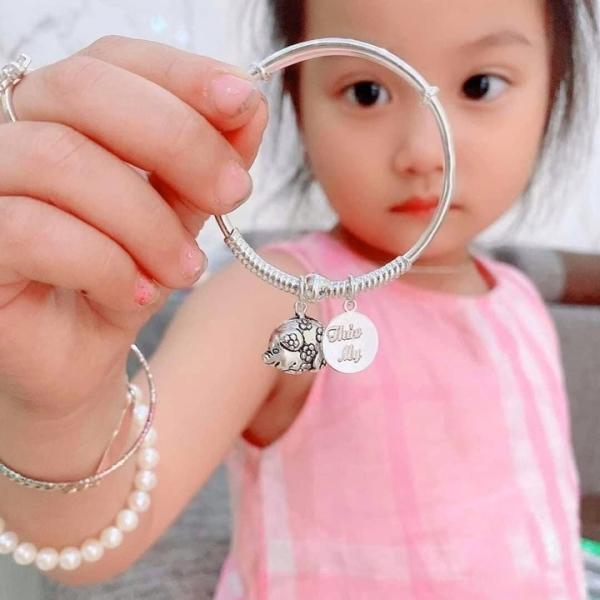 Giá bán Lắc bạc cho bé [ Khắc tên MIỄN PHÍ ] - Điều chỉnh được kích cỡ - đeo tay, chân đều được