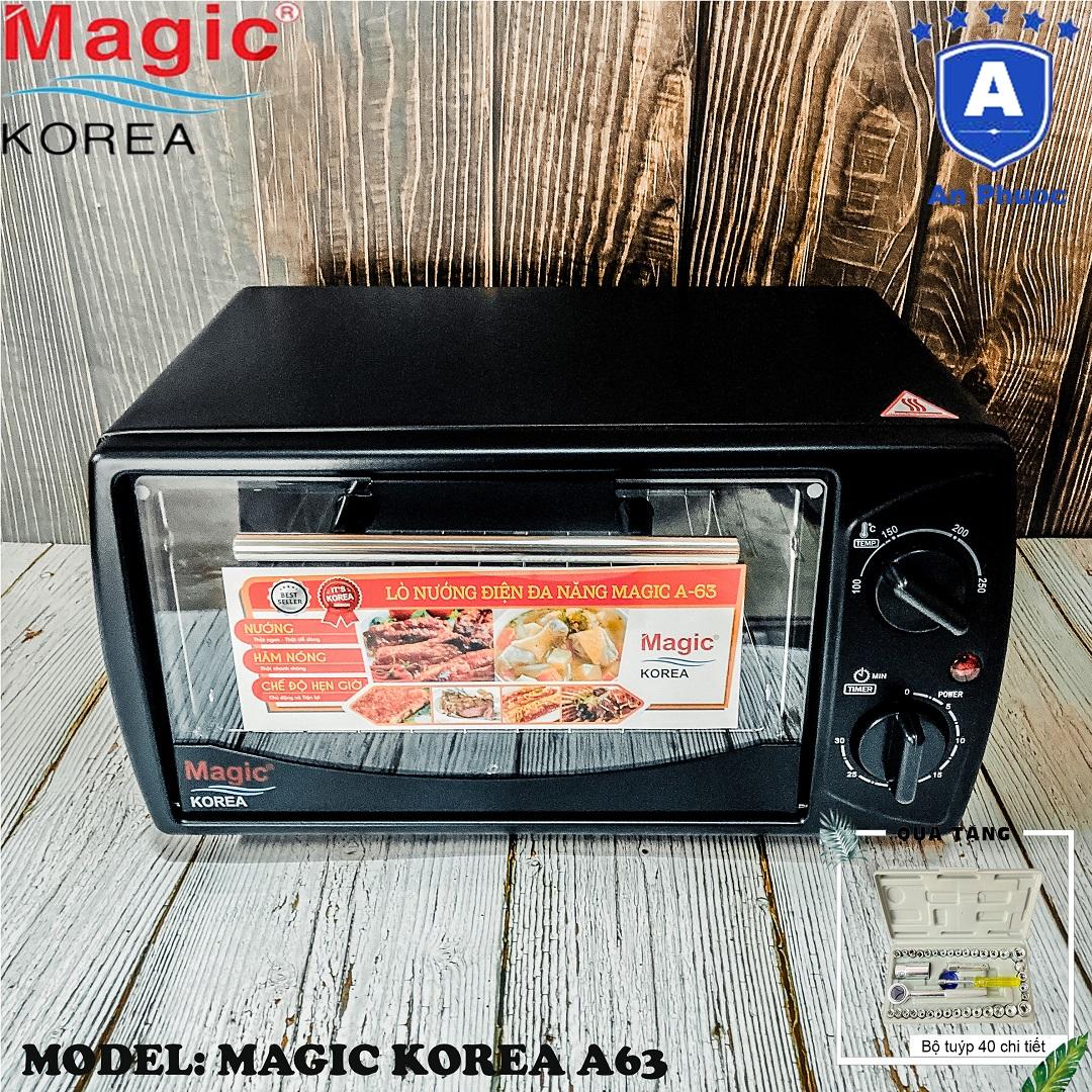 Lò nướng bánh mini Magic Korea A63 | Dung tích 12 Lít | Công suất 1000W | Màu đen | Bảo Hành Chính Hãng 12 Tháng | Tặng Bộ Dụng Cụ 40 Món