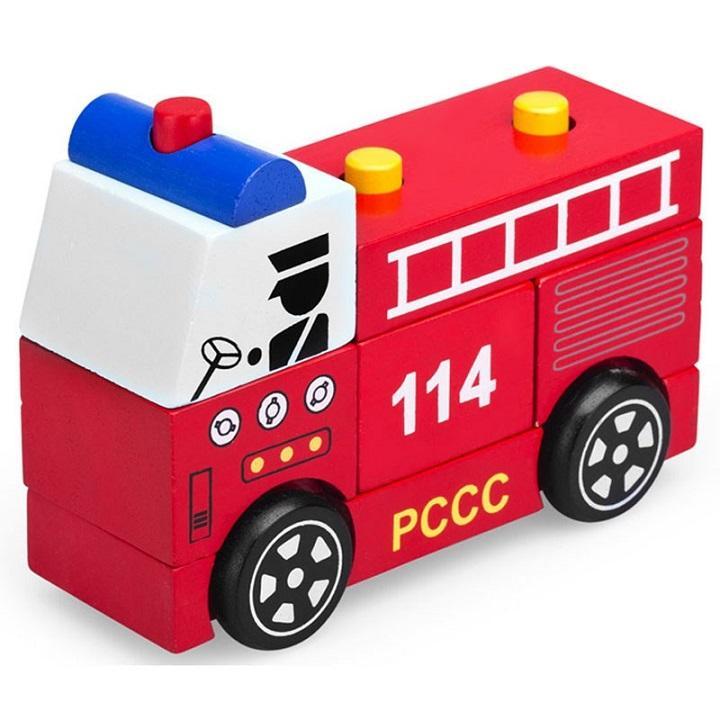 Đồ chơi lắp ráp mô hình xe cứu hỏa bằng...