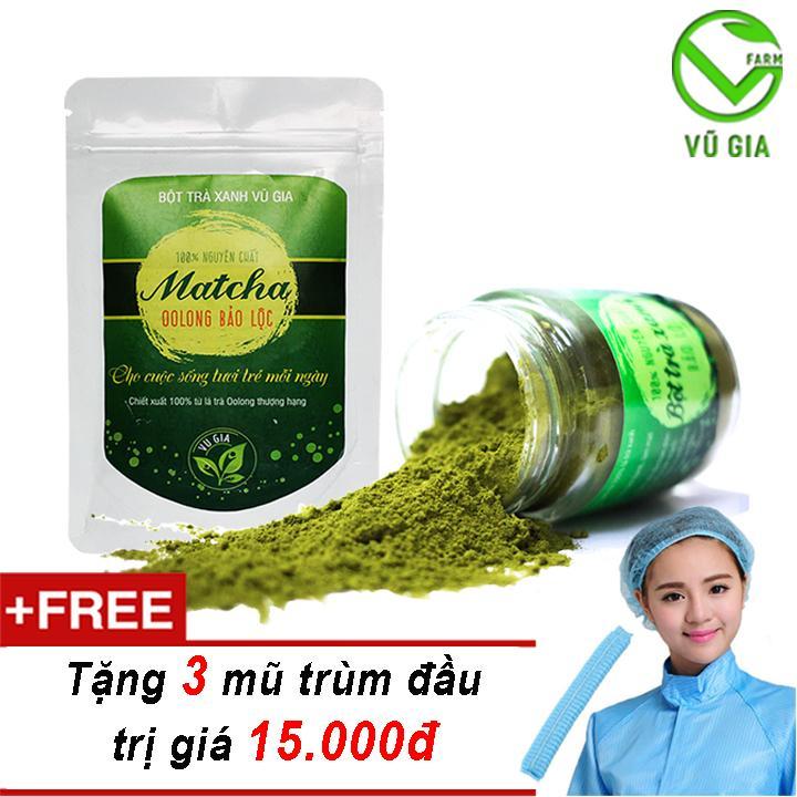 Combo Bột Trà Xanh + Matcha Oolong - Nguyên Chất VG - (100gr/hũ) + Tặng 3 Mũ Trùm Đầu ( Trà sữa Matcha Latte )