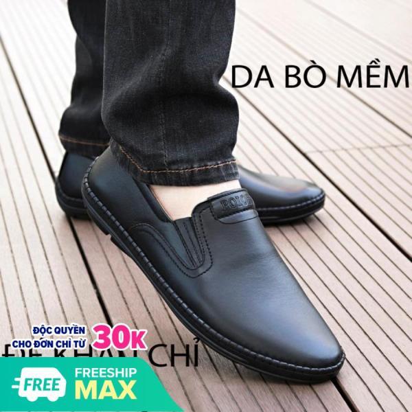 (Video Thật) giày nam, giày lười,giày thời trang da bò đen trẻ trung