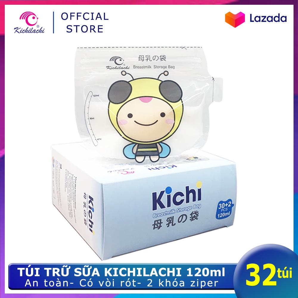 Hộp 32 Túi Trữ Sữa Kichilachi 120ml Hình Ong - Có Vòi Rót Tiện Lợi, Chất Liệu PET An Toàn Đang Khuyến Mãi