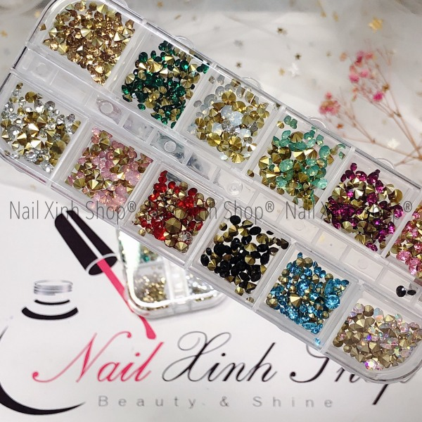 Khay nail 12 ô đá nail mix size, khay đá nail 12 màu - đa dạng size, phụ kiện nail cao cấp chuyên dụng nail salon giá rẻ