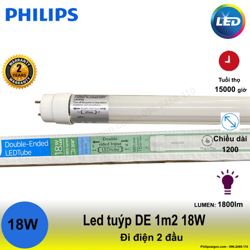 (Bộ 5) bóng Led tuýp Philips DE 1m2 18W - điện đi 2 đầu, sử dụng dòng điện trực tiếp, tiết kiệm điện đến 55% - 24 tháng