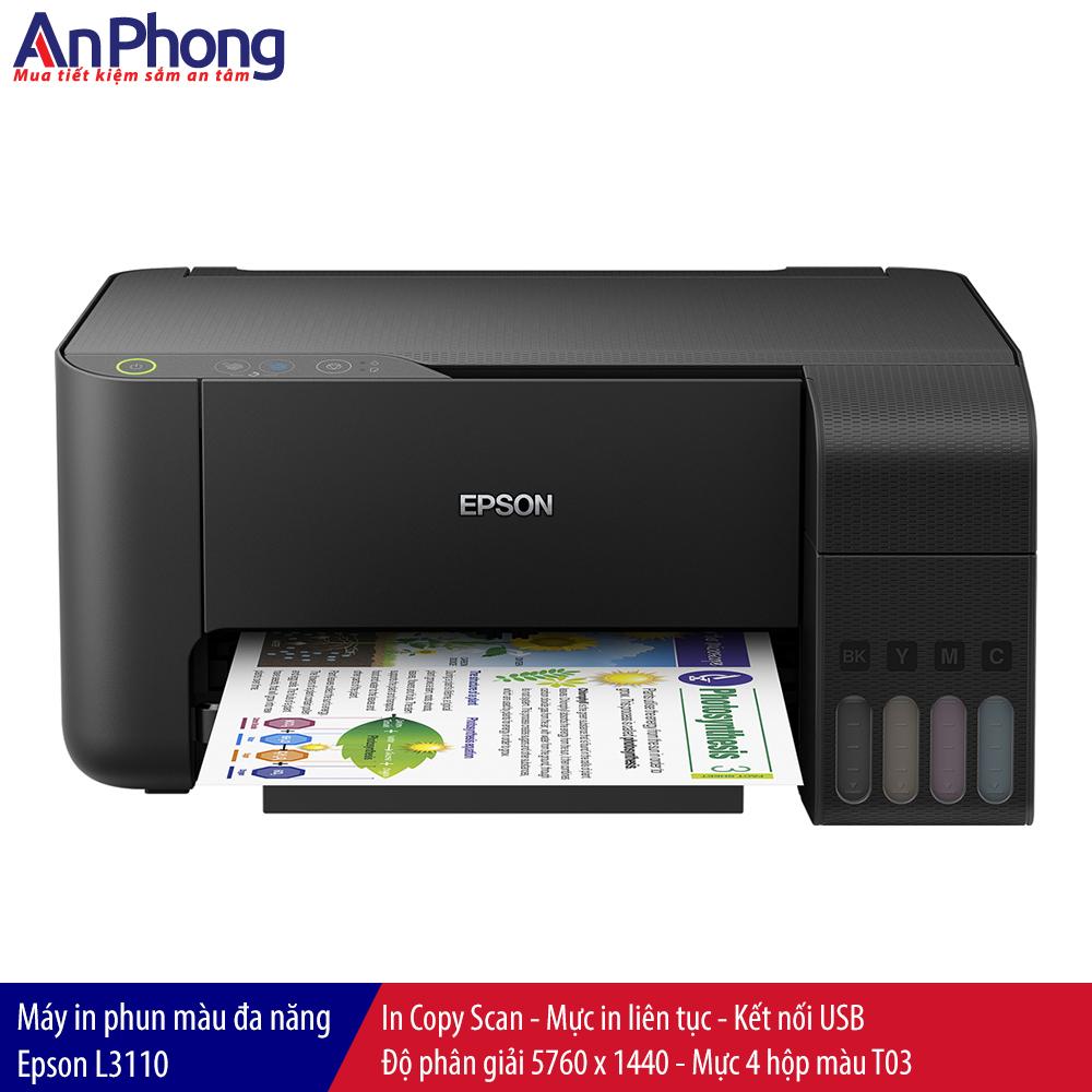 Máy in phun màu Epson L3110, copy scan, kết nối USB - Hàng Chính Hãng