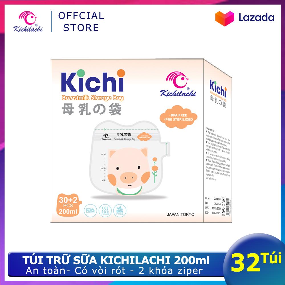 Hộp 32 Túi Trữ Sữa Kichilachi 200ml Hình Pig-Túi đựng Sữa Mẹ Dùng 1 Lần An Toàn, Có Vòi Rót Tiện Lợi Không Thể Rẻ Hơn tại Lazada