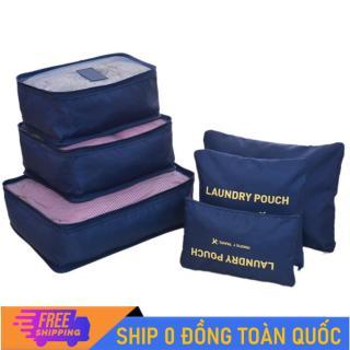 Bộ 6 túi đựng hành lý du lịch vải chống thấm nhiều màu nhiều size tiện dụng thumbnail