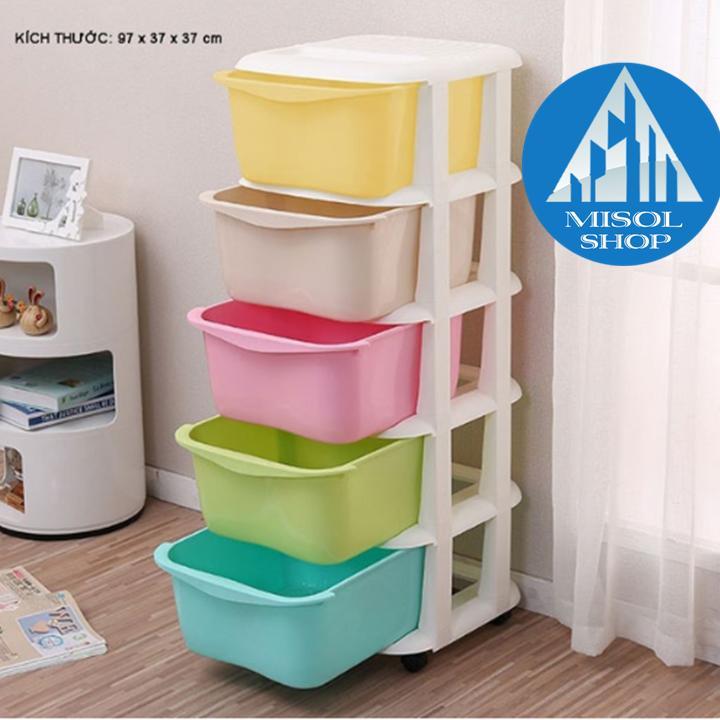 Tủ nhựa 5 tầng 5 sắc màu [ Giảm Giá] Nhật Bản