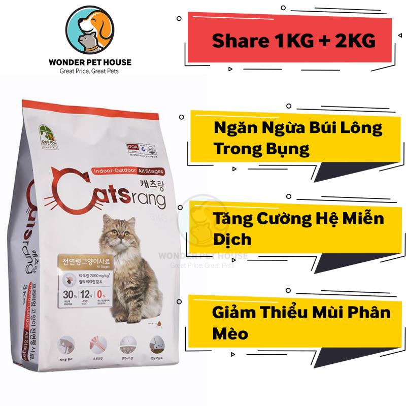 [HẠT KHÔ] Cho mèo Catsrang (Gói chia 1kg) - Thức ăn mèo Hàn Quốc Tiêu Búi Lông - Tăng Cường Hệ Miễn Dịch - CATRANG/ CATS RANG