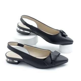 Giày Búp Bê Hở Gót 2cm Gắn Nơ Màu Đen Pixie P240