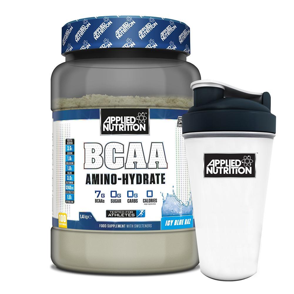 Combo BCAA Amino Hydrate 100 lần dùng vị trái cây phục hồi cơ tăng sức bền & bình lắc 700ml cao cấp