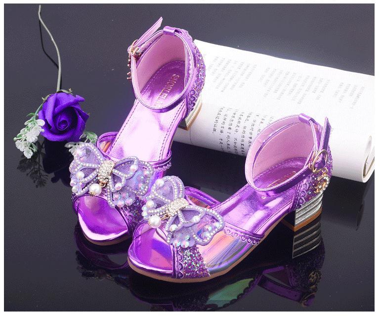Giá bán Giày cao gót công chúa bé gái hở mũi tráng gương tử 3 -13 tuổi