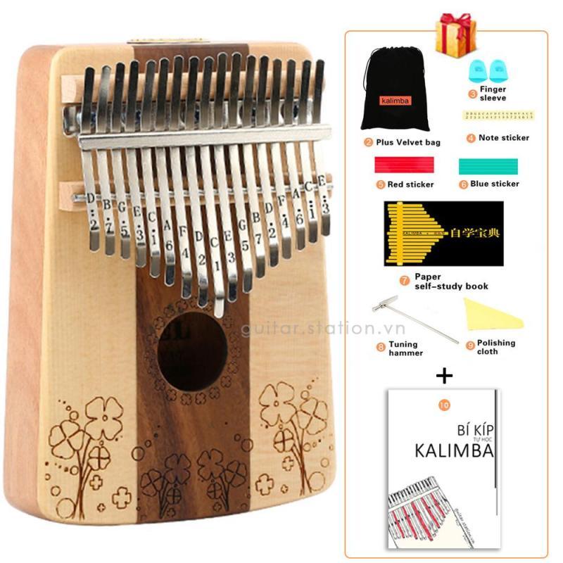 Đàn Kalimba Yael 17 Phím Gỗ - Full phụ kiện - Kalimba-Yael-Floral