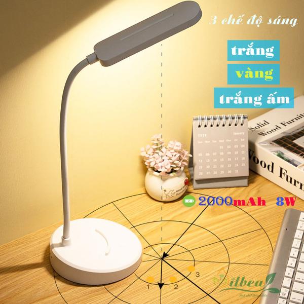 Đèn học để bàn có ánh sáng vàng chống cận thị pin sạc tích điện 2000mAh với 3 chế độ ánh sáng model SL-901